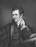 Humphry Davy (1778-1829) British chemist, 1800. Inventor of safety lamp for miners. Using electrolysis he discovered a number of elements.  Worked on Nitrous oxide (Laughing gas).  Professor chemistry, Royal Institution, London, 1802. Born in Penzance, Cornwall, England. Engraving after portrait by James Lonsdale (1777-1839).