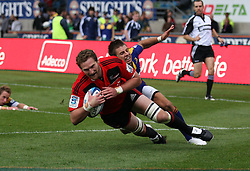 Kieran Reid scores a try for the Crusaders..Investec Super Rugby - Highlanders v Crusaders, 19 March 2011, Carisbrook Stadium, Dunedin, New Zealand..Photo: Rob Jefferies / www.photosport.co.nz