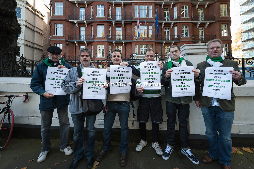 15th Nov 2013. Protesters gather at the Dutch Embassy in London to demonstrate against the custody of two Celtic FC fans. Padraig Mullan and Andy Vance face a court hearing on Nov. 21st after trouble flared before a match against  Amsterdam's Ajax.