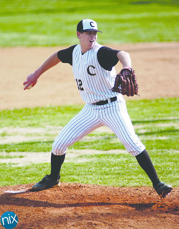 Concord's Eric Brink pitches against Porter Ridge Tuesday afternoon.