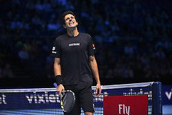 November 13, 2017 - London, England, United Kingdom - Marcelo Melo of Brazil in action in the Doubles match against Ivan Dodig of Croatia and Marcel Granollers of Spain during day two of the Nitto ATP World Tour Finals at O2 Arena, London on November 13, 2017. (Credit Image: © Alberto Pezzali/NurPhoto via ZUMA Press)