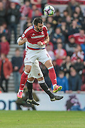 Alvaro Negredo (Middlesbrough) clears a corner from his own penalty box during the Premier League match between Middlesbrough and Watford at the Riverside Stadium, Middlesbrough, England on 16 October 2016. Photo by Mark P Doherty.