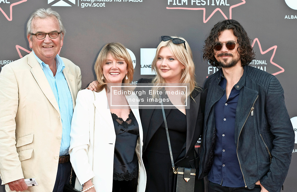 Edinburgh International Film Festival, Wednesday, 27th June 2018<br /> <br /> OBEY (UK PREMIERE)<br /> <br /> Pictured:  Sophie Kennedy Clark (2nd right) with (l to r) her father Francis Clark, mother Fiona Kennedy (daughter of Scottish singer Calum Kennedy) and Australian actor Luke Arnold<br /> <br /> (c) Alex Todd   Edinburgh Elite media
