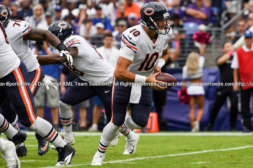 BALTIMORE, MD - OCTOBER 15: Chicago Bears quarterback Mitchell Trubisky (10) looks to hand off in the first quarter against the Baltimore Ravens on October 15, 2017, at M&T Bank Stadium in Baltimore, MD.  (Photo by Mark Goldman/Icon Sportswire)