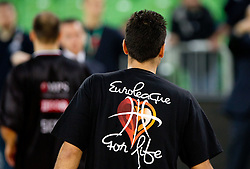 T-shirt Euroleague for life during basketball match between KK Union Olimpija and Montepaschi Siena (ITA) of 7th Round in Group D of Regular season of Euroleague 2011/2012 on December 1, 2011, in Arena Stozice, Ljubljana, Slovenia. Sena defeated Union Olimpija 63-57. (Photo by Vid Ponikvar / Sportida)