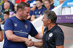 Notts County manager Kevin Nolan and Leicester City manager Claude Puel shake hands before kick off - Mandatory by-line: Ryan Crockett/JMP - 21/07/2018 - FOOTBALL - Meadow Lane - Nottingham, England - Notts County v Leicester City - Pre-season friendly