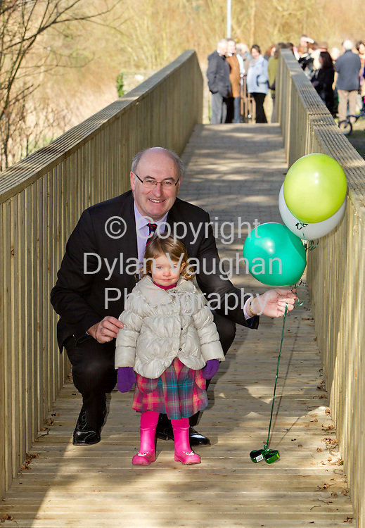 5/3/2012.no charge for media repro.....Doireann Corr aged 2 and Phil Hogan TD Minister for Environment, Community & Local Government pictured at the launch of Kilkenny Walking Festival,  the citys first ever Walking Festival which runs in the city and county throughout the month of April. The festival is about lots more than just walking and the organisers want enthusiasts of all levels, families, groups and individuals to pack a picnic, join in a walk in the bluebells or a Scavenger Hunt, enjoy walks along the riverbank and barbecues, feast on local Lavistown sausages, Highbank Apple Juice and learn all about foraging in the wild. The Kilkenny Walking Festival Programme is available from the Tourist Information Office in the city or to download from www.trailkilkenny.ie.Picture Dylan Vaughan Photography.