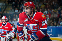 KELOWNA, CANADA - MARCH 7: Tamas Laday #24 of Spokane Chiefs skates against the Spokane Chiefs of Kelowna Rockets on March 7, 2015 at Prospera Place in Kelowna, British Columbia, Canada.  (Photo by Marissa Baecker/Shoot the Breeze)  *** Local Caption *** Tamas Laday;