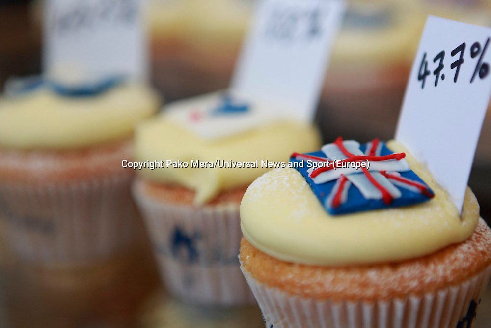 A cupcakes represent of the 47% of the NO vote.<br /> Cupcakes referendum photocall to take place. Cuckoo's bakery has been selling Yes, No and undecided cupcakes since March .<br /> Pako Mera/Universal News And Sport (Europe) 17/09/2014