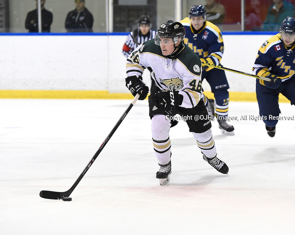 WHITBY, ON - Sep 29, 2015 : Ontario Junior Hockey League game action between Cobourg and Whitby, Mac Lowry #46 of the Cobourg Cougars skates with the puck during the second period.<br /> (Photo by Andy Corneau / OJHL Images)