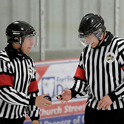 FORT FRANCES, ON - Apr 30, 2015 : Central Canadian Junior &quot;A&quot; Championship, game action between the Soo Thunderbirds and the Toronto Patriots, game five of the Dudley Hewitt Cup, Dudley Hewitt Cup Referees<br /> (Photo by Amy Deroche/ OJHL Images)