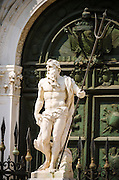 Neptune statue at the entrance to the Arsenal, Venice, Veneto, Italy