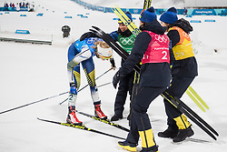February 17, 2018 - Pyeongchang, SOUTH KOREA - 180217 Anna Haag, Ebba Andersson and Charlotte Kalla celebrates with Stina Nilsson of Sweden, Silver after the WomenÃ•s Cross Country Skiing 4x5 km Relay during day eight of the 2018 Winter Olympics on February 17, 2018 in Pyeongchang..Photo: Jon Olav Nesvold / BILDBYRN / kod JE / 160176 (Credit Image: © Jon Olav Nesvold/Bildbyran via ZUMA Press)