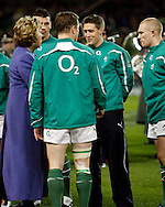 Photo © SPORTZPICS / SECONDS LEFT IMAGES 2010 -  Ronan O'Gara is congratulated on his 100th cap by President Mary McAleese - Ireland v South Africa - Guinness Series - Aviva Stadium - Dublin - 06/11/2010 -  Ireland - All Rights reserved