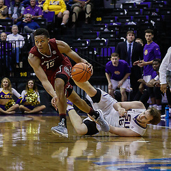 Feb 1, 2017; Baton Rouge, LA, USA; South Carolina Gamecocks guard PJ Dozier (15) drives past LSU Tigers forward Brandon Eddlestone (45) during the second half of a game at the Pete Maravich Assembly Center. South Carolina defeated LSU 88-63. Mandatory Credit: Derick E. Hingle-USA TODAY Sports