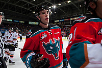 KELOWNA, CANADA - OCTOBER 13: Konrad Belcourt #5 of the Kelowna Rockets skates to the bench to celebrate a first period goal against the Calgary Hitmen on October 13, 2017 at Prospera Place in Kelowna, British Columbia, Canada.  (Photo by Marissa Baecker/Shoot the Breeze)  *** Local Caption ***
