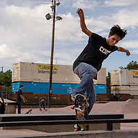 Silas Benally, 17, enjoys the one year anniversary of the skate park being opening Saturday afternoon in Gallup.
