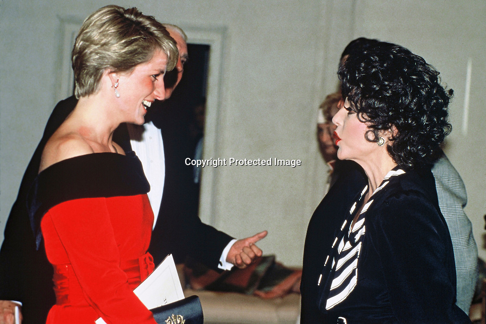 Diana, Princess of Wales meets actress Joan Collins in London, GREAT BRITAIN - mid 1980's.