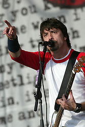 Singer/guitarist Dave Grohl of Foo Fighters, an American rock band, on the main stage at  T in the Park, 14th July 2002..Pic ©2010 Michael Schofield. All Rights Reserved.