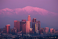 Downtown Los Angeles Skyline Winter Sunset with Mount Baldy in Background, California