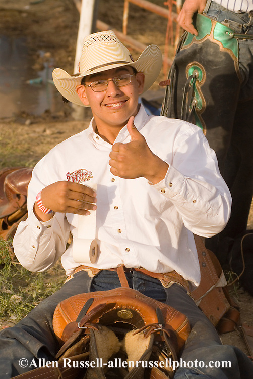 Thumbs up from Native American Saddle Bronc Rider at Miles City Bucking Horse Sale, Miles City Montana