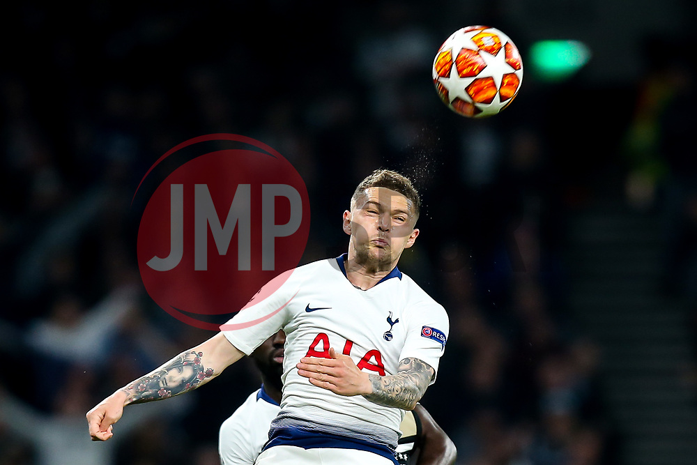 Kieran Trippier of Tottenham Hotspur heads the ball - Mandatory by-line: Robbie Stephenson/JMP - 30/04/2019 - FOOTBALL - Tottenham Hotspur Stadium - London, England - Tottenham Hotspur v Ajax - UEFA Champions League Semi-Final 1st Leg