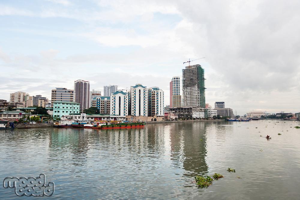River Pasig with city skyline; Manila; Philippines