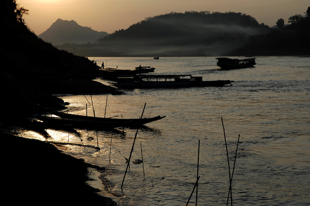 Luang Prabang. Sunset brings a magical calm to the Mekong River.