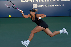 July 30, 2011; Stanford, CA, USA;  Sabine Lisicki (GER) returns the ball against Serena Williams (USA), not pictured, during the semifinals of the Bank of the West Classic women's tennis tournament at the Taube Family Tennis Stadium.