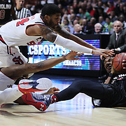 Chris Silva, (right), South Carolina, gathers a loose ball while challenged by Kassoum Yakwe, St. John's, during the St. John's vs South Carolina Men's College Basketball game in the Hall of Fame Shootout Tournament at Mohegan Sun Arena, Uncasville, Connecticut, USA. 22nd December 2015. Photo Tim Clayton