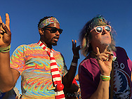 06212016 - Noblesville, Indiana, USA: Neo-Pranksters named Air Guiltar, left, and Wizard of Wonder smoke on the lawn at Klipsch Music Center (Deer Creek) as members of the Grateful Dead perform as Dead and Company. Security had been making people stop smoking during the show. The Grateful Dead's final show at  Deer Creek in July 1995 was marred by over a thousand fans crashing the gates leading to the next day's show being canceled. Grateful Dead guitarist Jerry Garcia died a few weeks later. (Jeremy Hogan/Polaris)