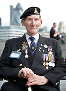 Raising the flag for Armed Forces Day <br /> at City Hall, London, Great Britain <br /> <br /> 20th June 2011<br /> <br /> John Jeffrey <br /> Veteran of the Royal Artillery <br /> was present at Juno Beach Graye-sur-mer on D-Day <br /> <br /> <br /> Photograph by Elliott Franks