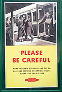Vintage British Railways rail safety poster, Swanage railway station, Dorset, England, UK