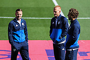 Tom Cleverley Ben Watson and Daryl Janmaat of Watford inspect the pitch, before the Premier League match between Swansea City and Watford at the Liberty Stadium, Swansea, Wales on 23 September 2017. Photo by Andrew Lewis.