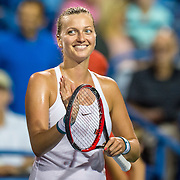 August 24, 2016, New Haven, Connecticut: <br /> Petra Kvitova of the Czech Republic reacts after winning a match against Eugenie Bouchard on Day 6 of the 2016 Connecticut Open at the Yale University Tennis Center on Wednesday, August  24, 2016 in New Haven, Connecticut. <br /> (Photo by Billie Weiss/Connecticut Open)