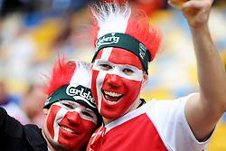 13-06-2012 VOETBAL: UEFA EURO 2012 DAY 6: POLEN OEKRAINE<br /> Suporters of Denmark during the UEFA EURO 2012 group B match between Denemarken en Portugal at Arena Lwiw, Lemberg, UKR<br /> ***NETHERLANDS ONLY***<br /> ©2012-FotoHoogendoorn.nl