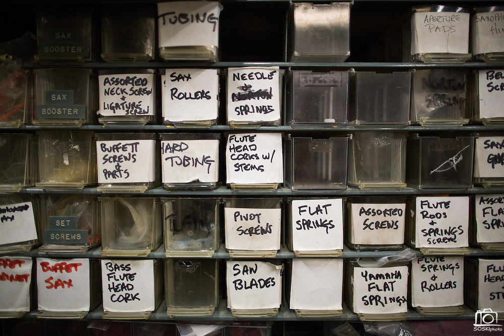 Drawers of parts sit in the Allegro Music repair shop at Allegro Music in Fremont, California, on April 16, 2014. (Stan Olszewski/SOSKIphoto)
