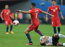 July 2, 2017 - Saint Petersburg, Russia - Alexis Sanchez (L) of the Chile national football team and Joshua Kimmich of the Germany national football team vie for the ball during the 2017 FIFA Confederations Cup final match between Chile and Germany at Saint Petersburg Stadium on July 02, 2017 in St. Petersburg, Russia. (Credit Image: © Igor Russak/NurPhoto via ZUMA Press)