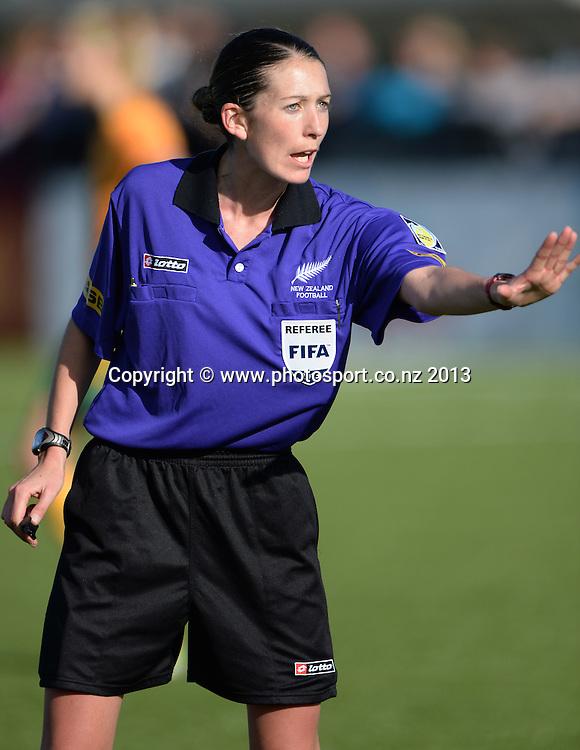 FIFA referee Anna-Marie Keighley. New Zealand Junior Football Ferns v Australia Young Matildas. Women's U20 International. Match 3. Seddon Fields, Auckland. Monday 29 July 2013. Photo: Andrew Cornaga/www. Photosport.co.nz