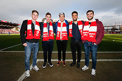 Bristol Rugby players Auguy Slowik, George Watkins, Ben Mosses, Marco Mama and Craig Hampson pose with City scarves before the match - Photo mandatory by-line: Rogan Thomson/JMP - 07966 386802 - 25/01/2015 - SPORT - FOOTBALL - Bristol, England - Ashton Gate Stadium - Bristol City v West Ham United - FA Cup Fourth Round Proper.