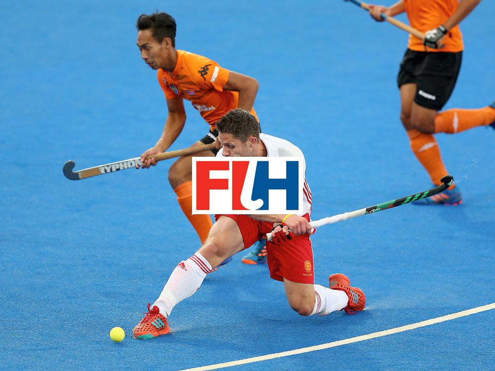 LONDON, ENGLAND - JUNE 25:  Mark Gleghorne of England attempts a shot during the 3rd/4th place match between Malaysia and England on day nine of the Hero Hockey World League Semi-Final at Lee Valley Hockey and Tennis Centre on June 25, 2017 in London, England.  (Photo by Steve Bardens/Getty Images)