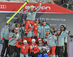 "29.01.2019, Planai, Schladming, AUT, FIS Weltcup Ski Alpin, Slalom, Herren, Siegerehrung, im Bild Daniel Yule (SUI, dritter Platz)und Taem CH // Third Place Daniel Yule of Switzerland and Swiss Ski Team during the winner Ceremony for the men's Slalom ""the Nightrace"" of FIS ski alpine world cup at the Planai in Schladming, Austria on 2019/01/29. EXPA Pictures © 2019, PhotoCredit: EXPA/ Erich Spiess"