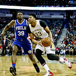 Feb 19, 2016; New Orleans, LA, USA; New Orleans Pelicans forward Anthony Davis (23) drives past Philadelphia 76ers forward Jerami Grant (39) during the first quarter of a game at the Smoothie King Center. Mandatory Credit: Derick E. Hingle-USA TODAY Sports