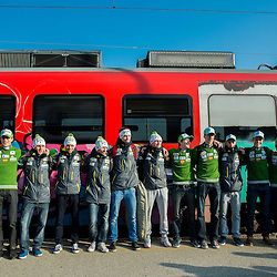 20150318: SLO, Ski jumping - Slovenian team at train from Ljubljana to Jesenice
