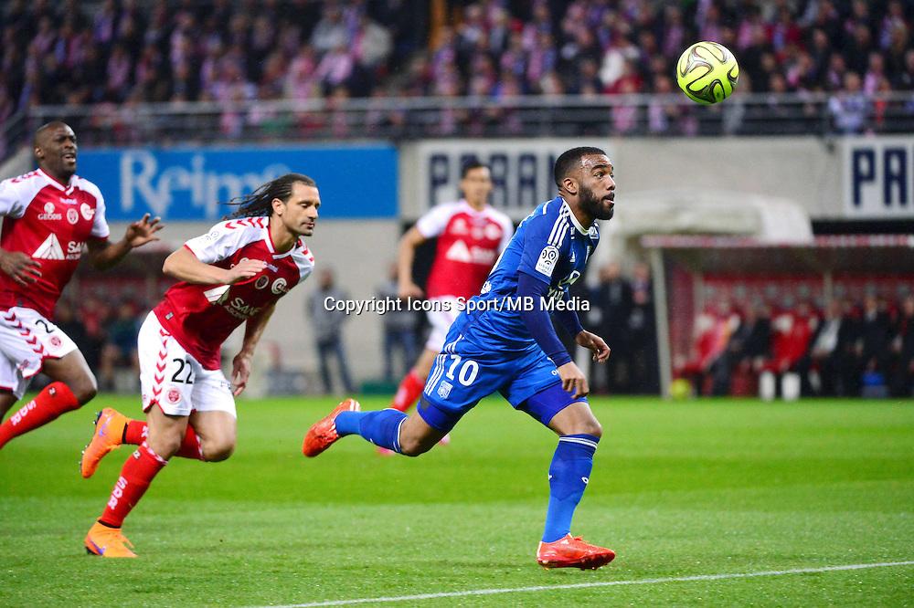 Alexandre LACAZETTE / Mickael TACALFRED - 26.04.2015 - Reims / Lyon - 34eme journee de Ligue 1<br />Photo : David Winter / Icon Sport