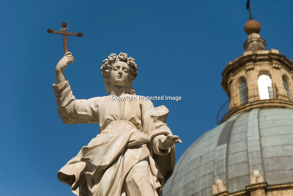 Christian sculpture in front of the Cathedral of Palermo, Italy