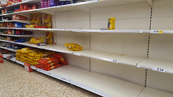 © Licensed to London News Pictures. 08/03/2020. London, UK. Tesco store in London runs out of rice amid an increased number of cases of Coronavirus (COVID-19) in the UK. Major supermarkets including Tesco, have started to ration certain products after shoppers began to stockpile. 273 cases in the UK have tested positive of the virus. Photo credit: Dinendra Haria/LNP
