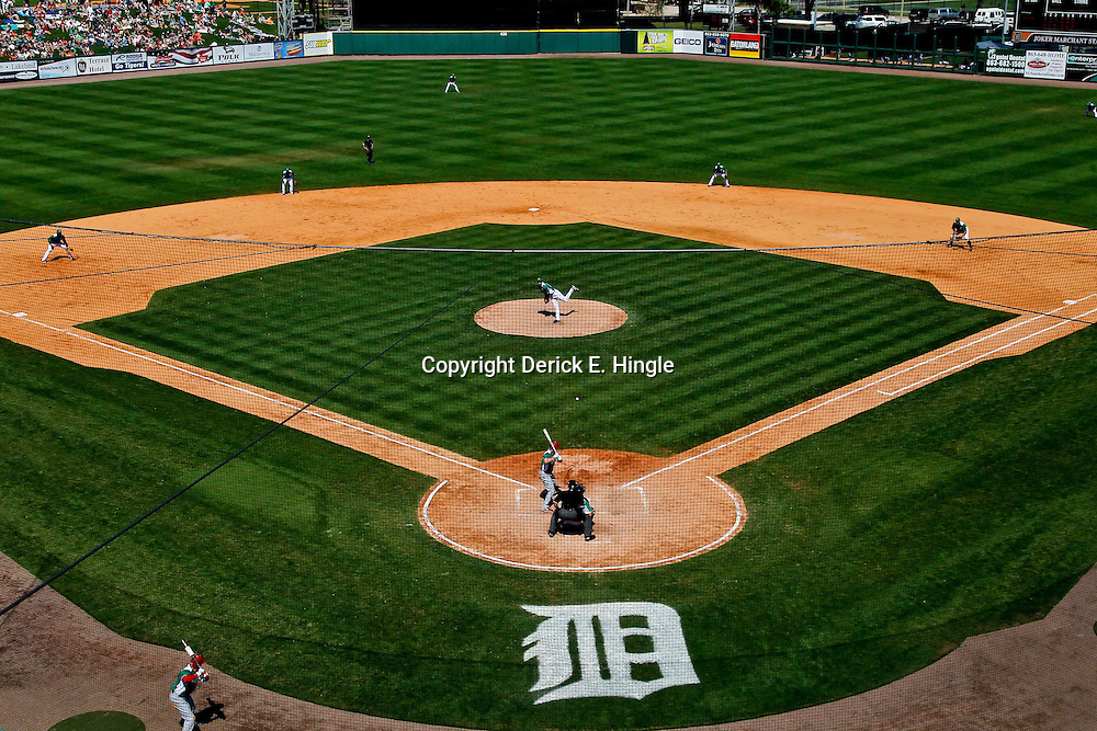 March 17, 2012; Lakeland, FL, USA; A general view during a spring training game at between the Detroit Tigers and the St. Louis Cardinals Joker Marchant Stadium. Both teams wore green jerseys and the field was marked with shamrocks for the St. Patrick's Day game. Mandatory Credit: Derick E. Hingle-US PRESSWIRE