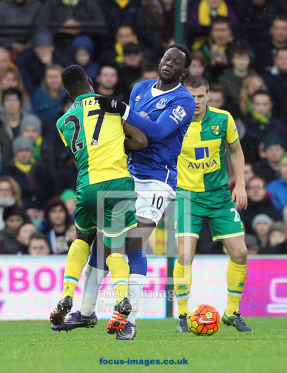 Romelu Lukaku of Everton and Alexander Tettey of Norwich in action during the Barclays Premier League match at Carrow Road, Norwich<br /> Picture by Paul Chesterton/Focus Images Ltd +44 7904 640267<br /> 12/12/2015