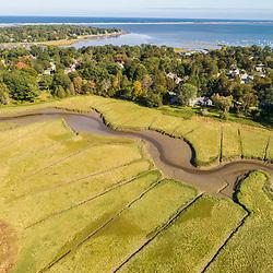 Drone view of the Bluefish River near the Wildlands Trust's Cushman Preserve in Duxbury, Massachusetts.